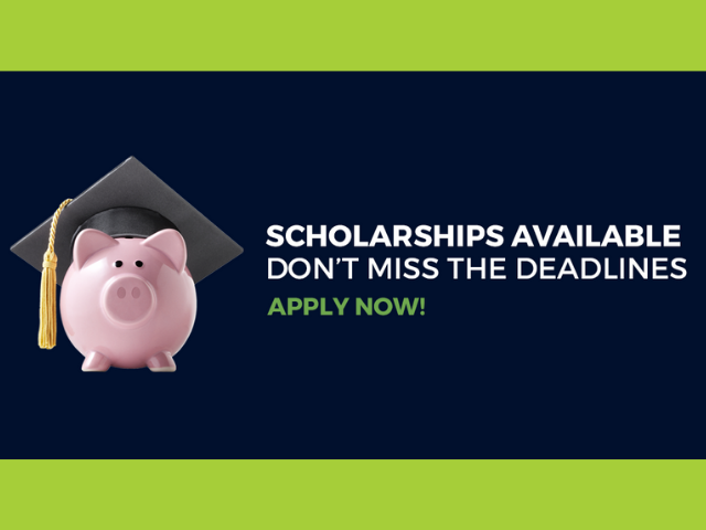 Image of a pig with a grad cap on.  Image text reads scholarships available now