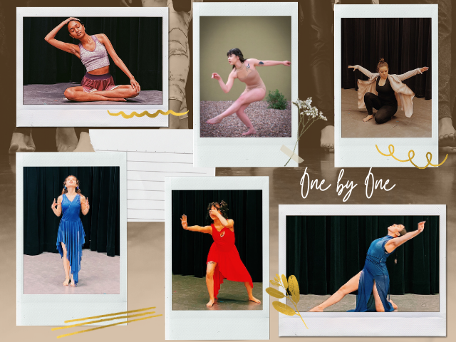 Collage with photos of six dancers in different poses