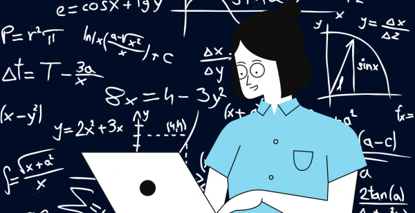 Virtual Internship Image with math equations and person on laptop