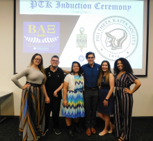 PTK officers at the Spring 2019 PTK Induction Ceremony, where 52 new members were inducted
